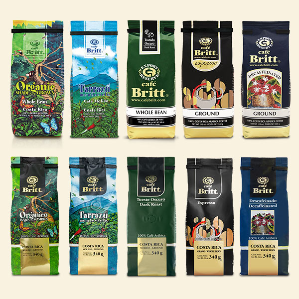 Cafe Britt packaging through the years 2