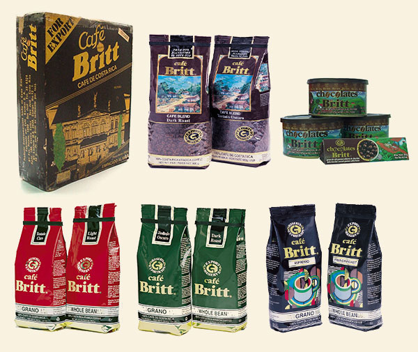 Cafe Britt packaging through the years 1
