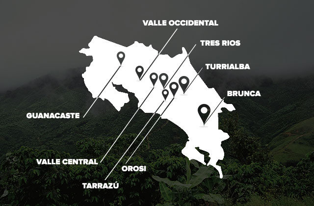 Map of Costa Rica with coffee regions noted