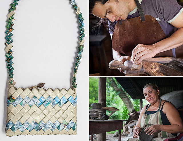 People making crafts and handmade purse