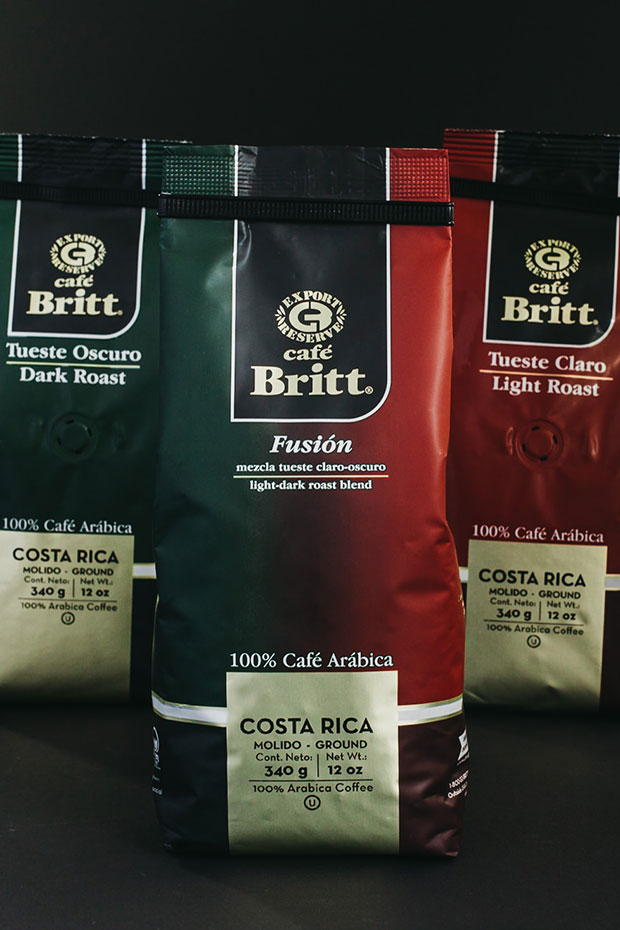 Bags of Café Britt coffee, Dark Roast, Fusión Blend, and Light Roast