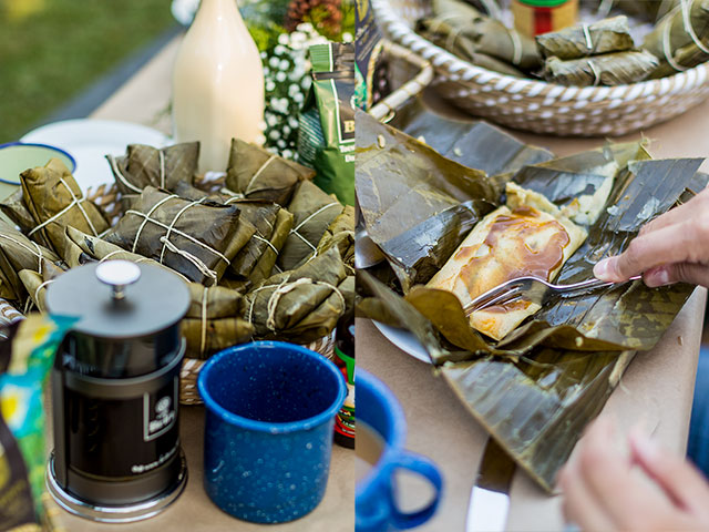 Costa Rican tamales and coffee