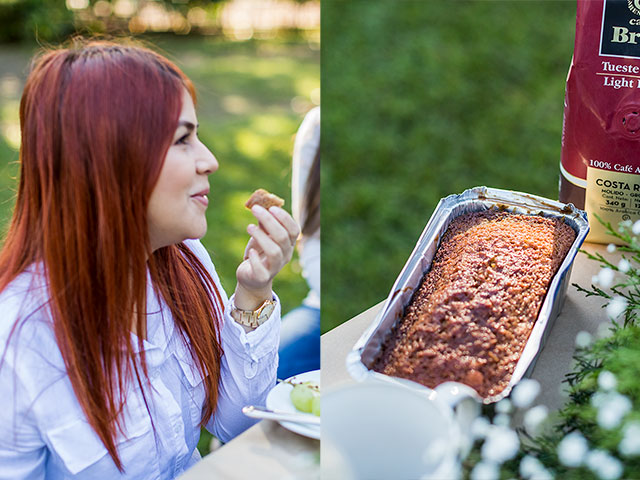 Girl with red hair and fruitcake